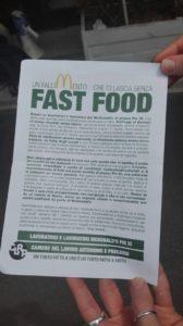 Volantino - Mobilitazione McDonald's