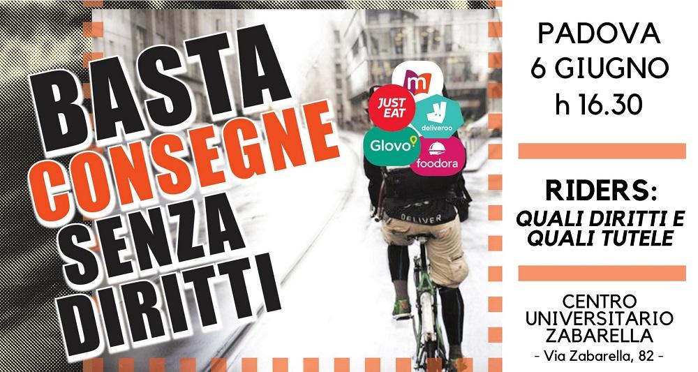 Riders: quali diritti e quali tutele. Incontro a Padova